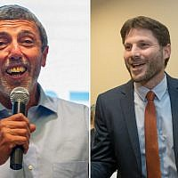 (L) Jewish Home chairman Rabbi Rafi Peretz speaks at the party's convention in Ramat Gan on February 4, 2019. (R) Bezalel Smotrich celebrates after being elected chairman of the National Union faction, at the Crown Plaza hotel in Jerusalem, on January 14, 2019. (Yonatan Sindel/FLash90)