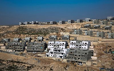 A new housing project in the West Bank settlement of Naale, January 1, 2019 (AP Photo/Ariel Schalit)