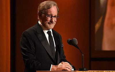 Steven Spielberg speaks onstage during the Academy of Motion Picture Arts and Sciences' Governors Awards in Hollywood, California, November 18, 2018. (Kevin Winter/Getty Images via JTA)
