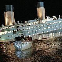 A scene from the 1997 movie 'Titanic' showing the last lifeboat leaving the sinking ship. (Paramount Pictures)