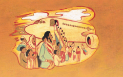 Pages from the English version of 'Yuvi's Candy Tree,' written by Lesley Simpson about Yuvi Tashome's journey from Ethiopia to Sudan (Courtesy Kar-Ben Publishing)