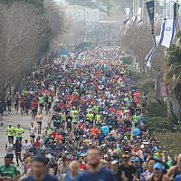 Runners in Jerusalem's ninth annual Marathon, March 15, 2019 (Flash 90)