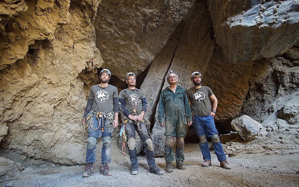 Malcham Cave lead explorers from left to right Efi Cohen, Yoav Negev, Professor Amos Frumkin, and Boaz Langford outside of the main entrance to the cave on March 22, 2019 near the Dead Sea. (courtesy Anton Chikishev/Hebrew Unviersity)