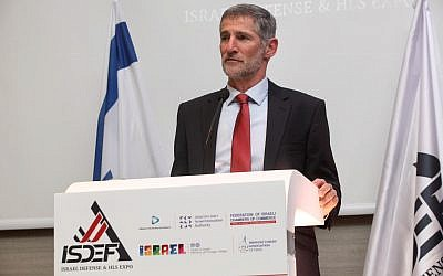 Former IDF Deputy Chief of Staff Yair Golan speaks at the ISDEF Defense & HLS Expo in Herzliya on March 26, 2019. (Ronen Topelberg)