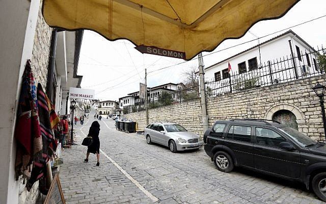 A picture taken on February 6, 2019 shows the entrance of the Solomon Jewish history museum in the Albanian city of Berat. (Gent Shkullaku/AFP)