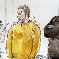 A court sketch made on January 10, 2019, shows Mehdi Nemmouche, center, accused of the terrorist attack at the Jewish Museum in Brussels in 2014, during his trial at the Brussels Justice Palace. (Benoit Peyrucq/AFP)
