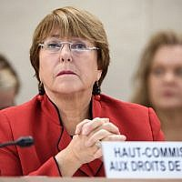 United Nations High Commissioner for Human Rights Michelle Bachelet at the opening day of the 40th session of the UN Human Rights Council in Geneva, February 25, 2019. (Fabrice Coffrini/AFP)