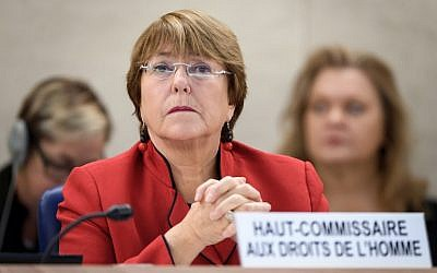 United Nations High Commissioner for Human Rights Michelle Bachelet at the opening day of the 40th session of the UN Human Rights Council in Geneva, February 25, 2019 (Fabrice COFFRINI / AFP)