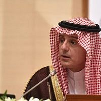 Saudi Arabia's Minister of State for Foreign Affairs Adel al-Jubeir at a press conference in the Saudi capital Riyadh, March 4, 2019. (Fayez Nureldine/AFP)
