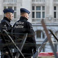Illustrative: Belgian police in Brussels on March 7, 2019. (John Thys/AFP)