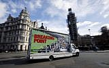 A van with a billboard entitled Breaking Point and aimed at holding the 'Brext Elite' to account, is pictured during its unveiling by For our Future's Sake (FFS) - the youth and student wing of the People's Vote campaign - near the Houses of Parliament in central London on March 7, 2019. (Tolga Akmen / various sources / AFP)