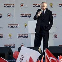 Turkish President Recep Tayyip Erdogan speaks on stage during a local election rally of his Justice and Development Party (AK Party) in Diyarbakir, eastern Turkey, on March 9, 2019. ( Ilyas AKENGIN / AFP)