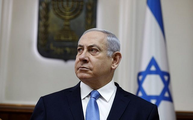 Prime Minister Benjamin Netanyahu attends the weekly cabinet meeting at his Jerusalem office, March 10, 2019. (GALI TIBBON/AFP)