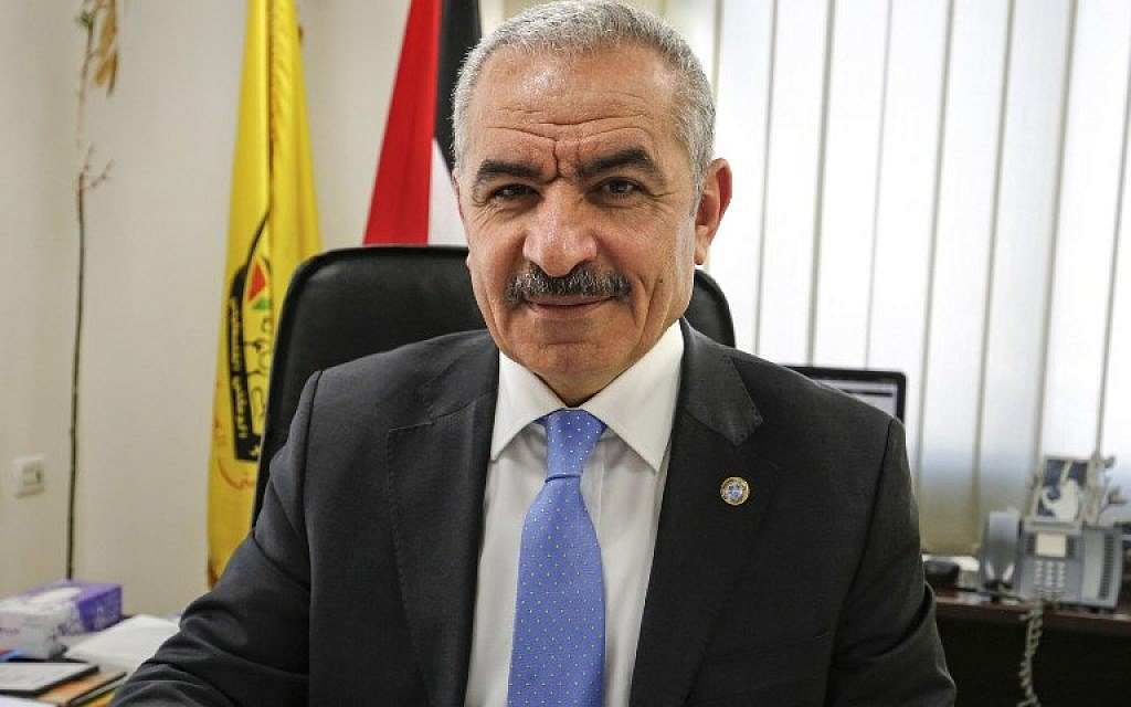 Newly-appointed Palestinian Prime Minister Mohammad Shtayyeh, at his office in Ramallah, March 10, 2019. (ABBAS MOMANI / AFP)