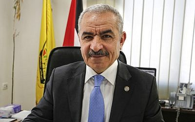 Newly-appointed Palestinian Prime Minister Mohammad Shtayyeh, at his office in Ramallah, March 10, 2019. (Abbas Momani/AFP)