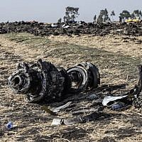 Debris from the crashed Ethiopia Airlines Boeing 737 plane some 60 kilometers southeast of Ethiopia's capital, Addis Ababa, March 11, 2019. (Michael Tewelde/ AFP)