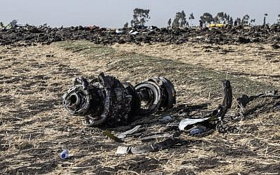 Debris from the crashed Ethiopia Airlines Boeing 737 plane some 60 kilometers southeast of Ethiopia's capital, Addis Ababa, March 11, 2019. (Michael Tewelde/AFP)