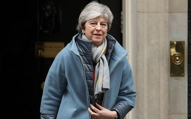 Britain's Prime Minister Theresa May leaves 10 Downing Street in central London on March 12, 2019, before heading to the Houses of Parliament to open the debate on the second meaningful vote on the government's Brexit deal. (Daniel Leal-Olivas/AFP)