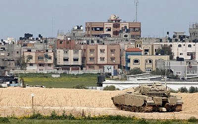 An Israeli Merkava battle tank on the border with the Gaza Strip on March 15, 2019. (Jack Guez/AFP)
