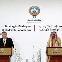 US Secretary of State Mike Pompeo (L) and Kuwaiti Foreign Minister Sheikh Sabah al-Khalid al-Sabah give a joint press conference in Kuwait City on March 20, 2019. (JIM YOUNG / POOL / AFP)