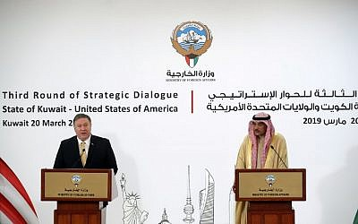 US Secretary of State Mike Pompeo, left, and Kuwaiti Foreign Minister Sheikh Sabah al-Khalid al-Sabah give a joint press conference in Kuwait City on March 20, 2019. (JIM YOUNG / POOL / AFP)