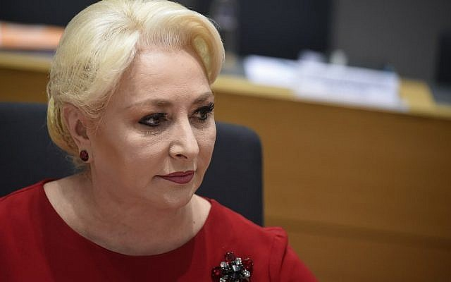 Romanian Prime Minister Viorica Dancila during an EU Tripartite Social Summit at the EU headquarters in Brussels on March 20, 2019. (JOHN THYS / AFP)