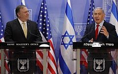 US Secretary of State Mike Pompeo (L) and Prime Minister Benjamin Netanyahu deliver a joint statement during their meeting in Jerusalem on March 20, 2019.  (JIM YOUNG / POOL / AFP)