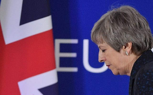 British Prime Minister Theresa May after a press conference on March 22, 2019, on the first day of an EU summit focused on Brexit, in Brussels. (Emmanuel Dunand/AFP)