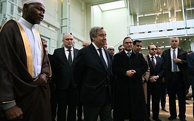 United Nations Secretary-General Antonio Guterres visits the Islamic Cultural Center in New York March 22, 2019 to make remarks  on the New Zealand attack and the need to address Islamophobia. (TIMOTHY A. CLARY / AFP)