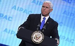 US Vice President Mike Pence addresses AIPAC's policy conference in Washington DC, March 25, 2019. (Jim Watson/AFP)