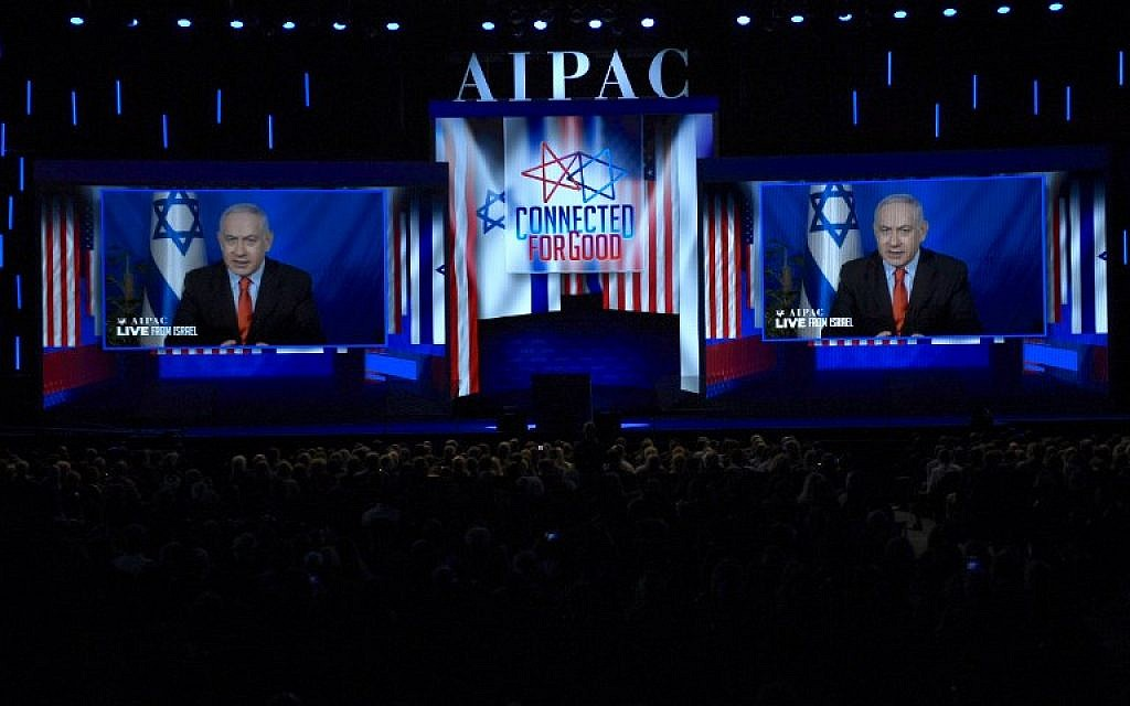 Prime Minister Benjamin Netanyahu speaks from Israel via video link at the annual AIPAC conference in Washington on March 26, 2019. (Jim Watson/AFP)