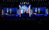 Prime Minister Benjamin Netanyahu speaks from Israel via video link at the annual AIPAC conference in Washington, on March 26, 2019. (Jim Watson/AFP/File)