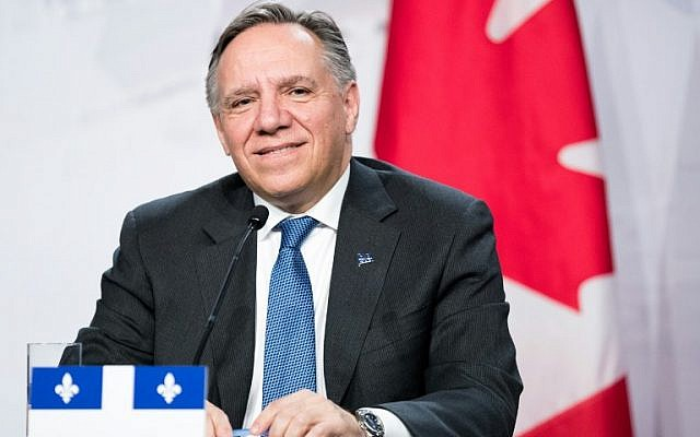 In this file photo taken on December 7, 2018 Premier of Quebec François Legault looks on as prime ministers of the Canadian provinces gather for a meeting set-up by Canada prime minister Justin Trudeau in Montreal, at the Marriott Chateau Champlain. (MARTIN OUELLET-DIOTTE / AFP)