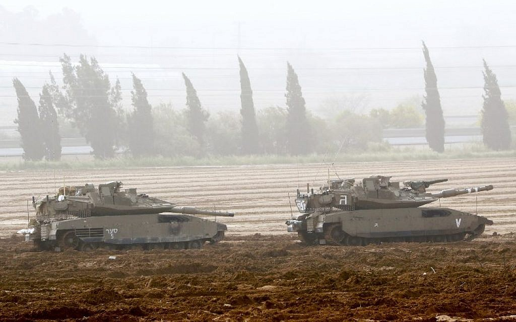 This picture taken on March 30, 2019, shows Israeli Merkava tanks stationed near the border with the Gaza Strip in southern Israel. (Jack Guez/AFP)