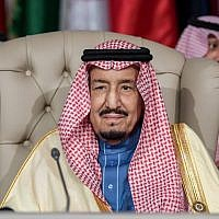 Saudi Arabia's King Salman bin Abdulaziz attends the opening session of the 30th Arab League summit in the Tunisian capital Tunis on March 31, 2019. (Fethi Belaid/Pool/AFP)