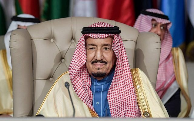 Saudi Arabia's King Salman bin Abdulaziz attends the opening session of the 30th Arab League summit in the Tunisian capital Tunis on March 31, 2019. (Fethi Belaid/Pool/AFP)