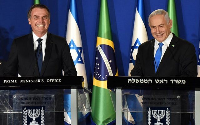 Brazilian President Jair Bolsonaro, left, and Israeli Prime Minister Benjamin Netanyahu speak during a joint press conference at the Prime Minister's Residence in Jerusalem, on March 31, 2019. (DEBBIE HILL/POOL/AFP)