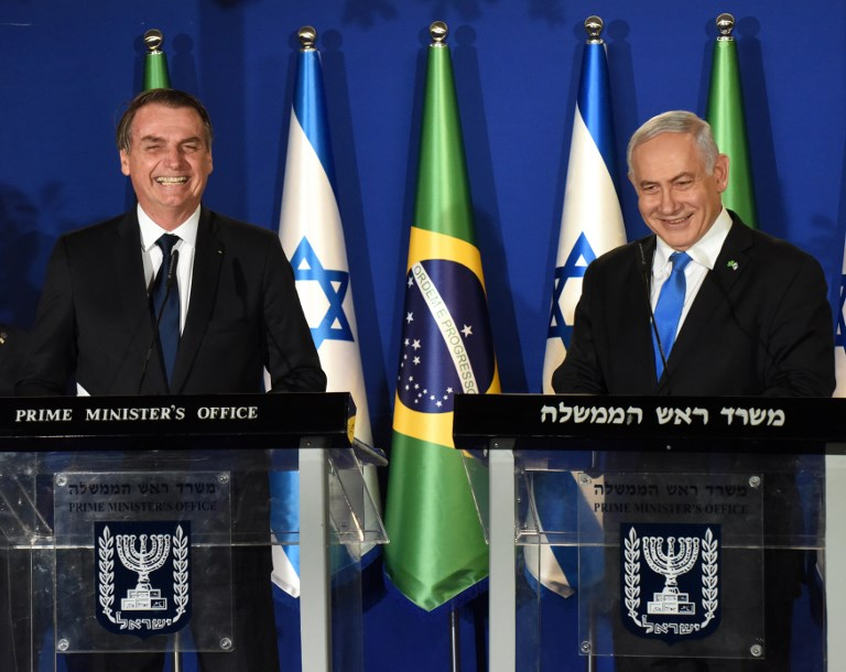 Brazilian President Jair Bolsonaro, left, and Israeli Prime Minister Benjamin Netanyahu speak during a joint press conference at the Prime Minister's Residence in Jerusalem, on March 31, 2019. (DEBBIE HILL/POOL/AFP)