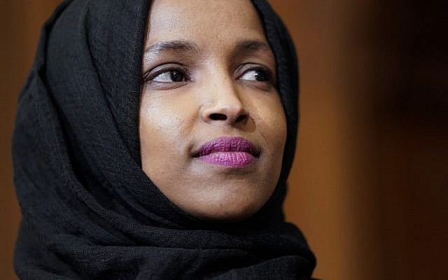 Democratic Representative Ilhan Omar of Minnesota listens as lawmakers speak about the Voting Rights Enhancement Act on Capitol Hill in Washington, DC, on February 26, 2019. (Joshua Roberts/Getty Images/AFP)