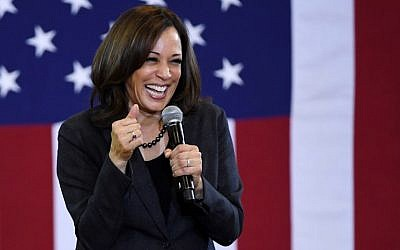 US Sen. Kamala Harris speaks during a town hall meeting at Canyon Springs High School on March 1, 2019 in North Las Vegas, Nevada. (Ethan Miller/Getty Images/AFP)