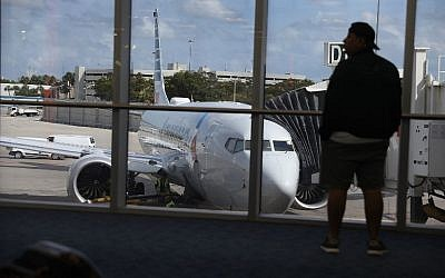 An American Airlines Boeing 737 Max 8 is seen at its gate after arriving at the Miami International Airport from San Jose, Costa Rica on March 13, 2019 in Miami, Florida. (Joe Raedle/Getty Images/AFP)