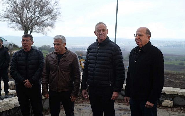 Blue and White party members (L-R) Gabi Ashkenazi, Yair Lapid, Benny Gantz and Moshe Ya'alon during a press conference in the Golan Heights on March 4, 2019. (Judah Ari Gross/Times of Israel)