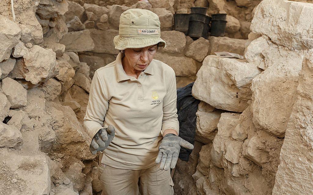 Sveta Pnik working at the site where the bulla was found in the City of David. (Eliyahu Yanai, City of David)
