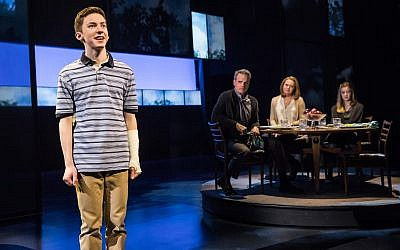 Andrew Barth Feldman performs in the titular role in 'Dear Evan Hansen' with, from left, Michael Park, Jennifer Laura Thompson and Mallory Bechtel. (Matthew Murphy/via JTA)