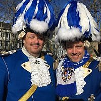 Brothers Patric and Frank Levy, aboard their float at the Cologne carnival, or Rosenmontag. (Toby Axelrod)