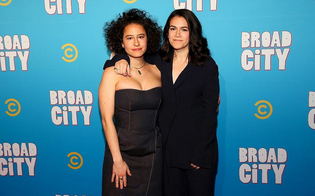 Ilana Glazer, left, and Abbi Jacobson at Comedy Central's 'Broad City' season 5 premiere party in New York, January 22, 2019. (Astrid Stawiarz/Getty Images for Comedy Central/via JTA)