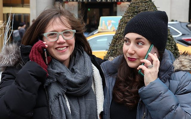 Jordana Horn, left, and Shannon Sarna are the hosts of a new podcast about Jewish parenting. (Marissa Roer/via JTA)