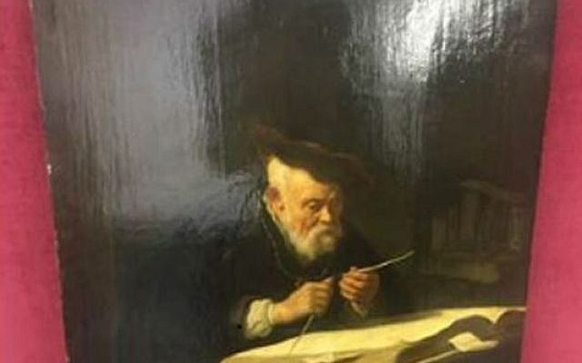 "Salomon Koninck's 1639 ""A Scholar Sharpening His Quill, (Photo US District Attorneys Office)"