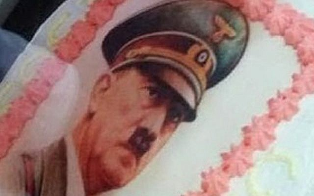 A portrait of Adolf Hitler on a birthday cake in Italy, Jan. 27, 2019. (Simon Wiesenthal Center)