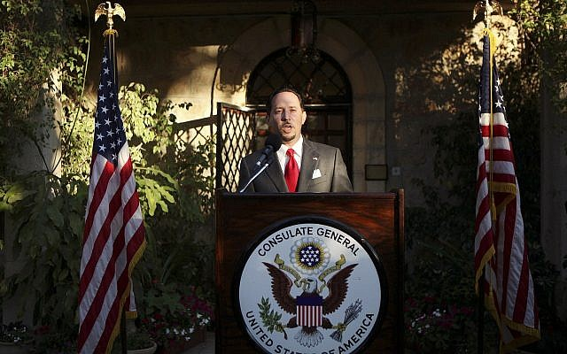 In this June 30, 2010, file photo, then US Consul General of Jerusalem Daniel Rubinstein gives a speech during a reception for the US Independence Day celebrations at the American Consulate in Jerusalem.  (Gali Tibbon/Pool Photo via AP)